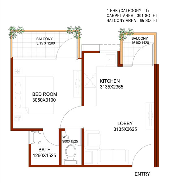 1bhk a for 1 bhk floor plans india
