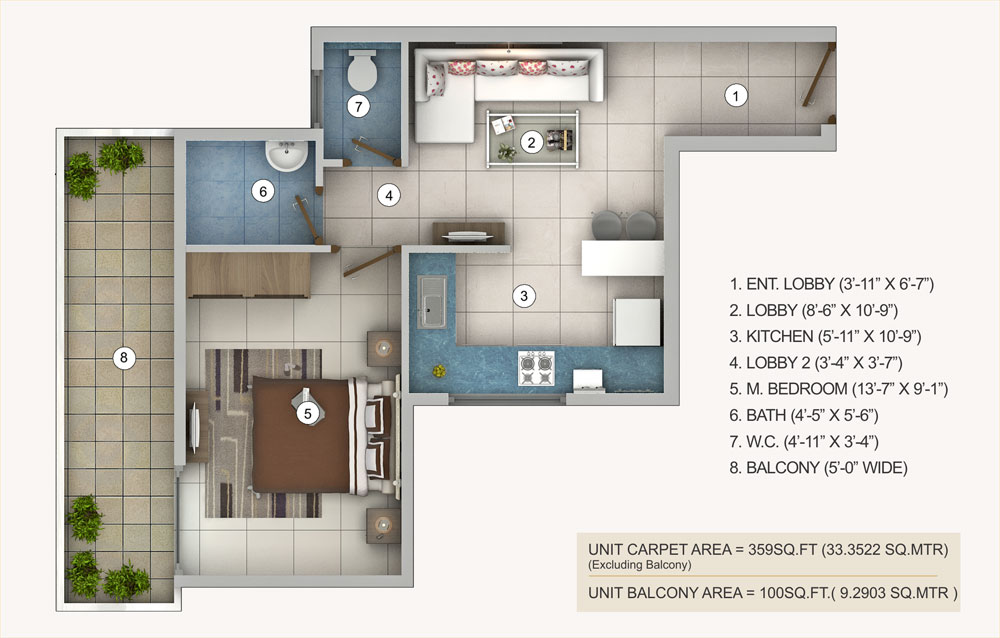 1bhk-type-a-pivotal-riddhi-siddhi-sector-99-affordable-housing-projects-gurgaon-floor-plan