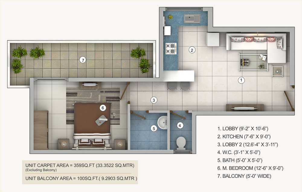 1bhk-type-b-pivotal-riddhi-siddhi-sector-99-affordable-housing-projects-gurgaon-floor-plan