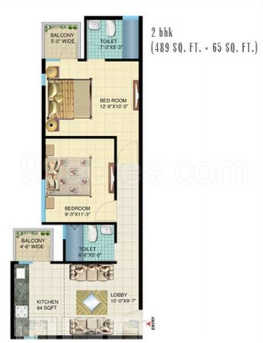 2bhk-489-sq-ft-floor-plan-of-signature-global-solera-sector-107-affordable-housing-project-gurgaon