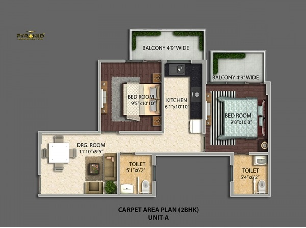 2bhk-501100-floor-plan-of-pyramid-urban-homes-2-affordable-housing-project-sector-86