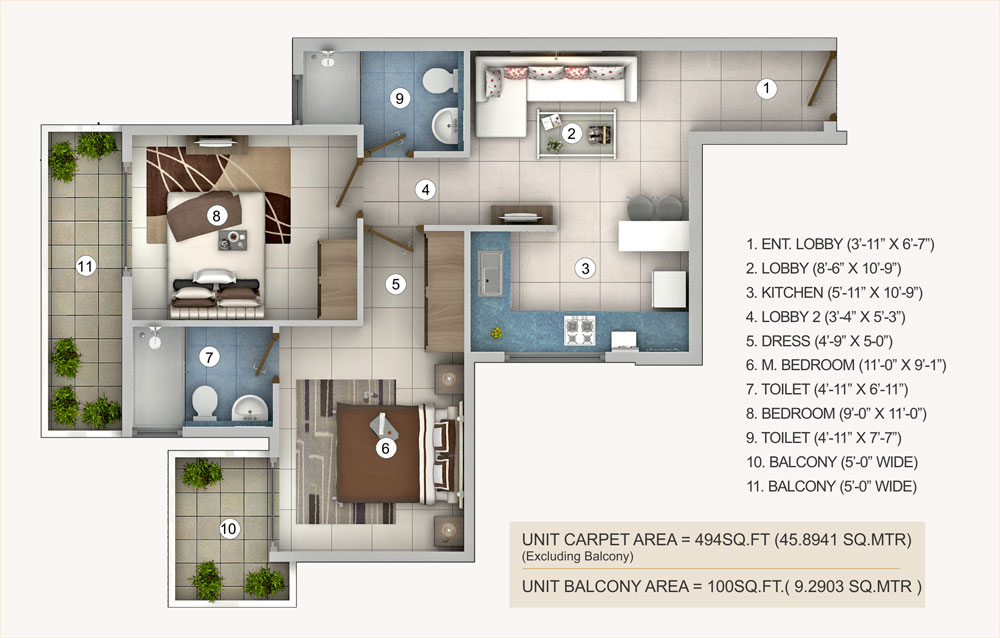 2bhk-typea-pivotal-riddhi-siddhi-sector-99-affordable-housing-projects-gurgaon-floor-plan