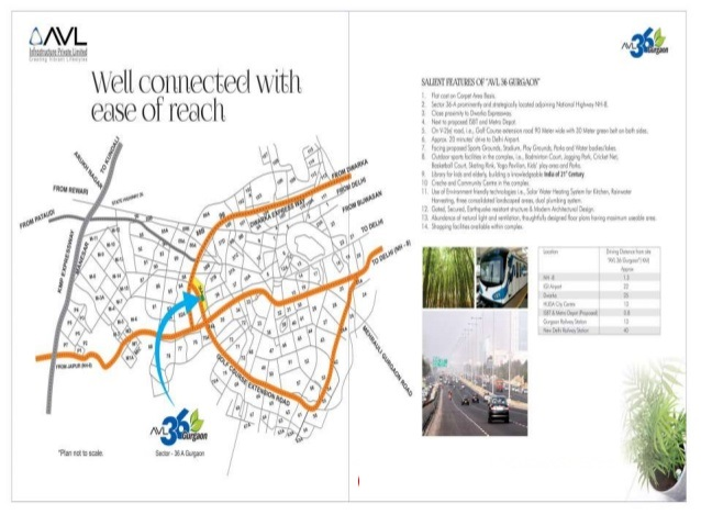 AVL36 SECTOR 36A AFFORDABLE HOUSING PROJECT GURGAON LOCATION MAP