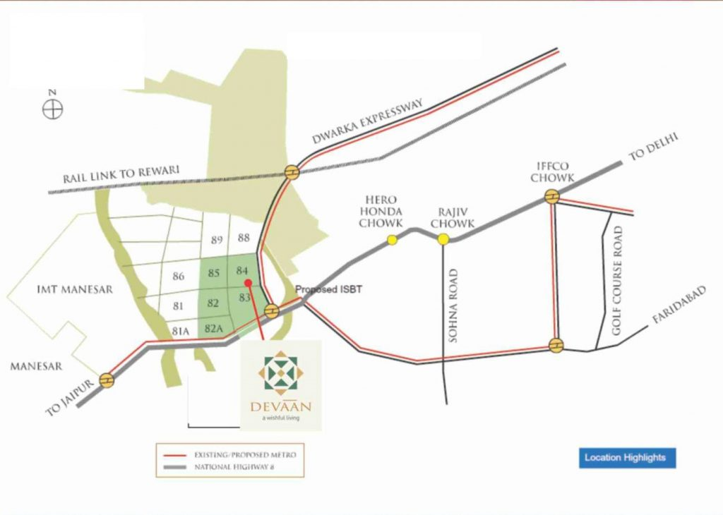 PIVOTAL DEEVAN SECTOR 84 AFFORDABLE HOUSING PROJECT GURGAON LOCATION MAP