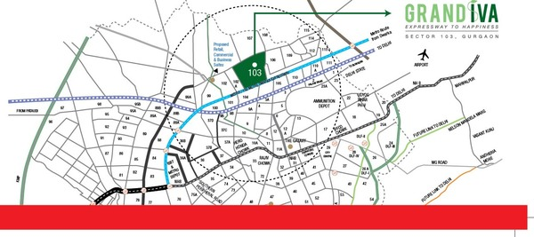 SIGNATURE GLOBAL GRAND IVA SECTOR 103 AFFORDABLE HOUSING PROJECT GURGAON LOCATION MAP