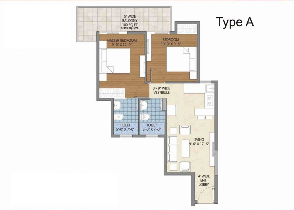 TYPE-A  PIVOTAL DEEVAN SECTOR 84 AFFORDABLE HOUSING PROJECT GURGAON FLOOR PLAN