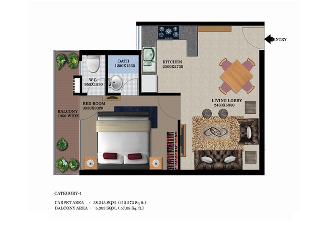 type-3-1bhk-41257-floor-plan-of-global-heights-sector-33-s0hna-affordable-housing