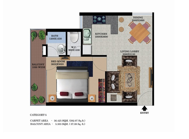 type-4-1bhk-39257-floor-plan-of-global-heights-sector-33-s0hna-affordable-housing