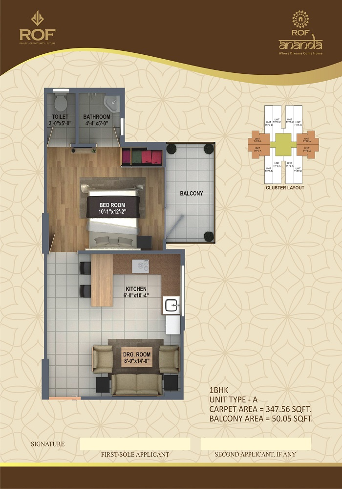ROF ANANDA SECTOR 95 1BHK TYPE A 347+50