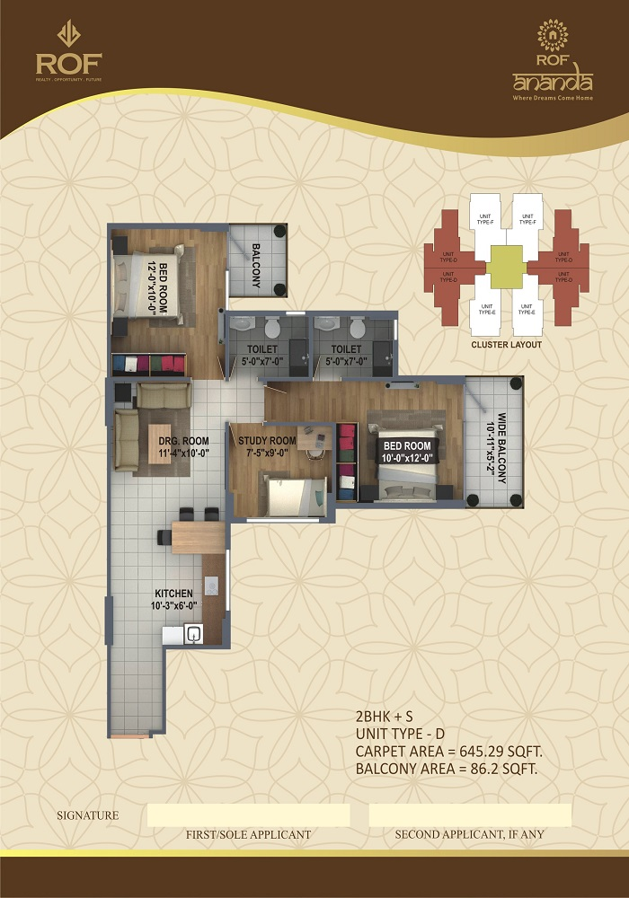 ROF ANANDA SECTOR 112 2BHK+STUDY OR 3BHK TYPE-D 645+86
