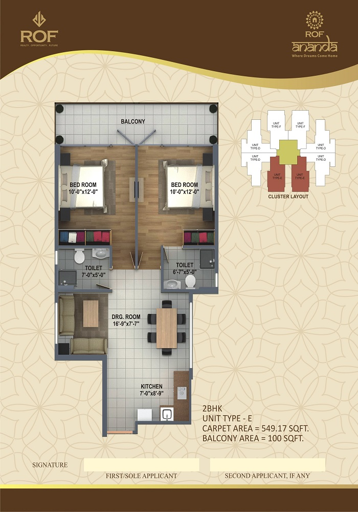 ROF ANANDA SECTOR 112 2BHK TYPE-E 549+100