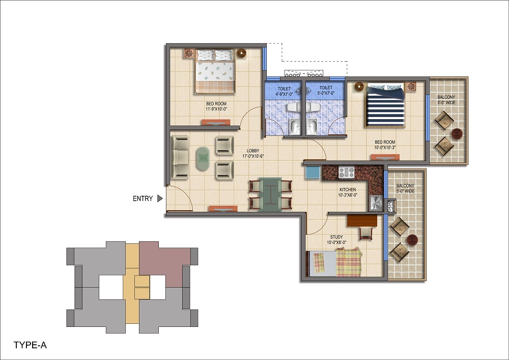 Signature Global The Roselia Sector 95a Gurgaon floor plan 2bhk+study 3bhk