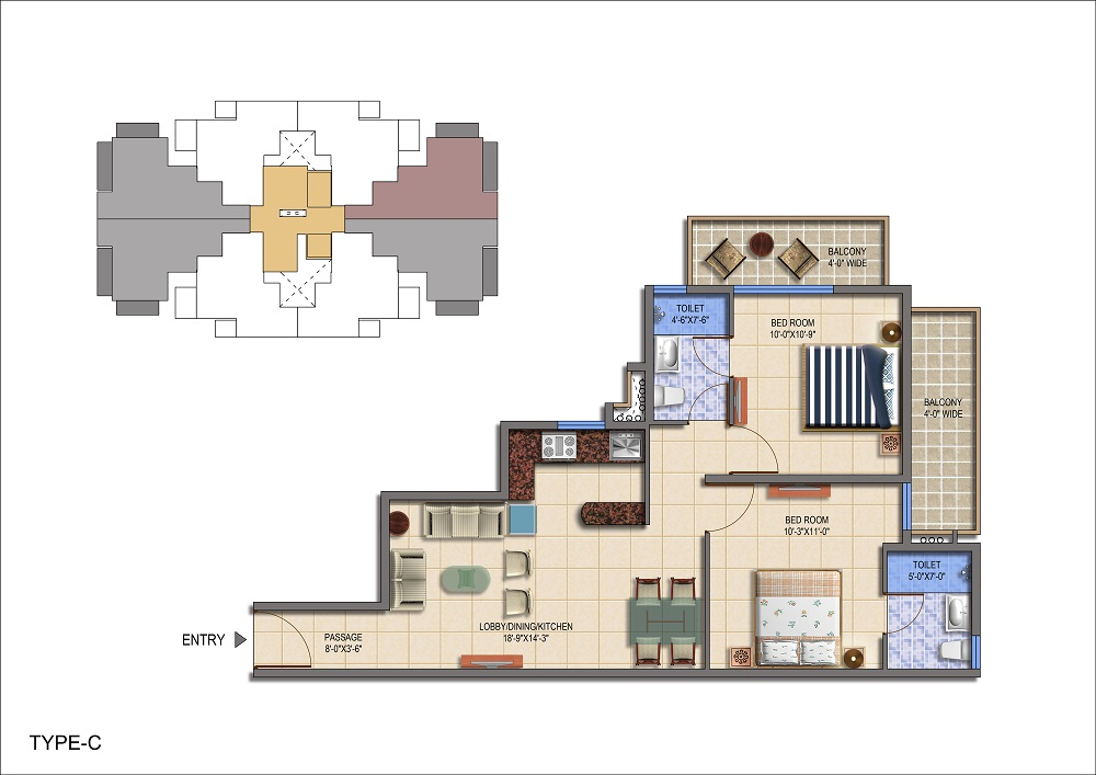 Haryana Affordable Housing Project Signature Global The Roselia Sector 95a Gurgaon floor plan 2bhk