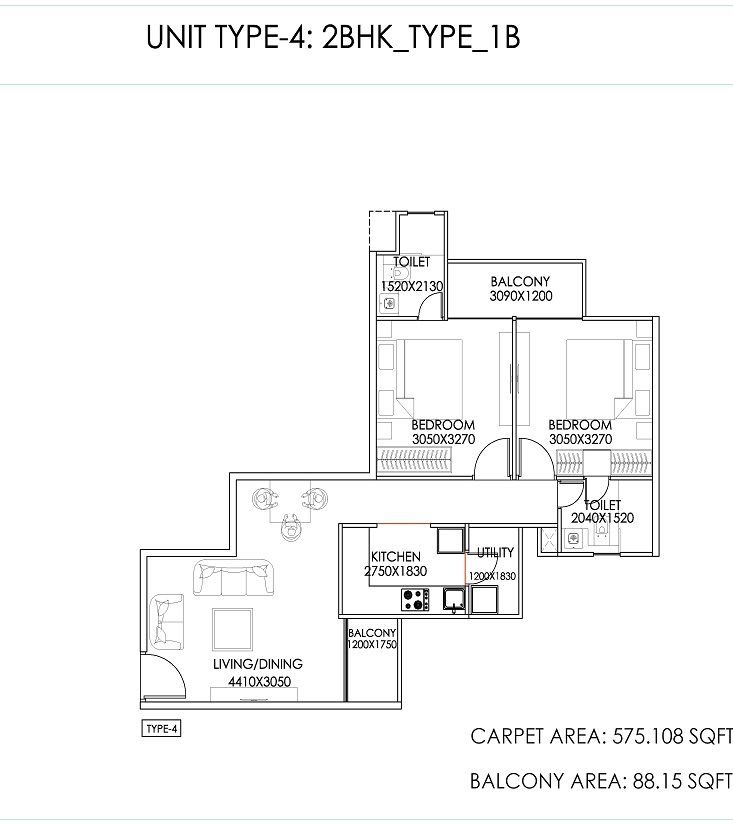 Signature Global the Serenas Sector 36 Sohna Floor plan 2bhk