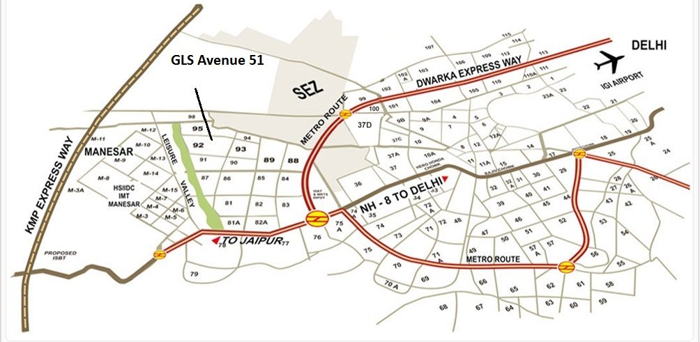 gls avenue 51 sector 92 gurgaon location map