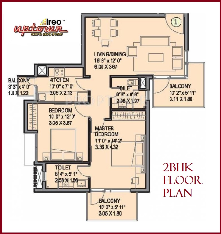 Floor Plan 2 BHK Uptown