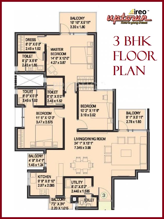 Floor Plan 3 BHK Uptown
