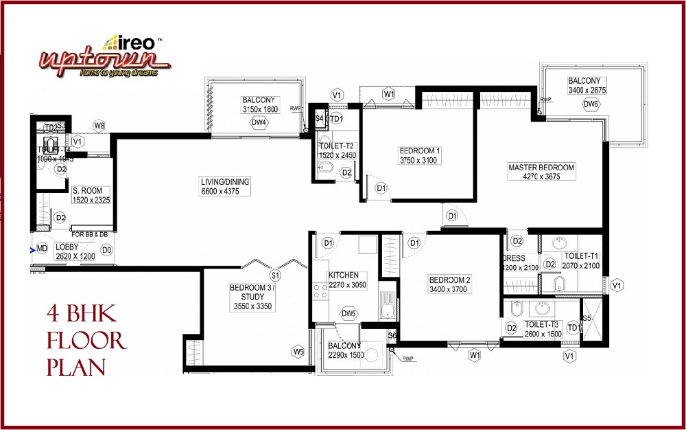 Floor Plan 4 BHK Uptown