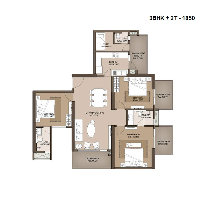 M3M Heights floor plan 3bhk+ 2t + servant