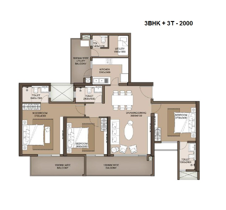 M3M Heights floor plan 3bhk+ 3t + servant