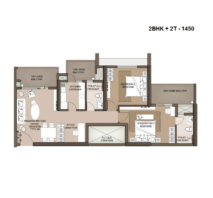 M3M heights floor plan 2bhk+ 2t+ study