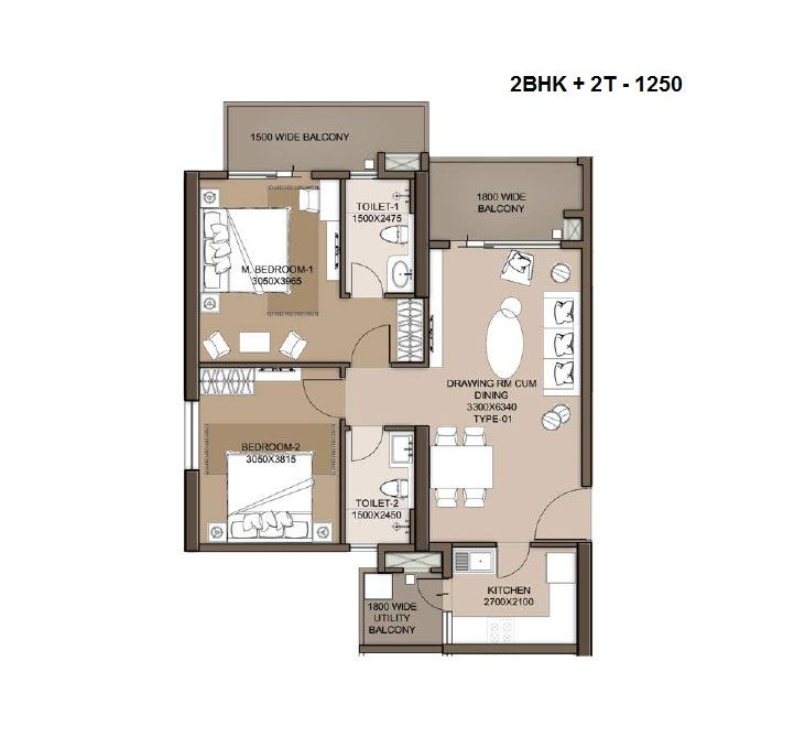 M3M heights floor plan 2bhk+2t