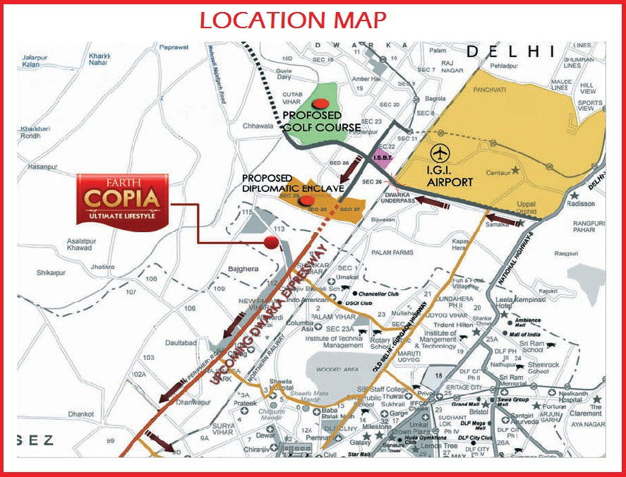 Location Map of Earth Copia Gurgaon Sector 112