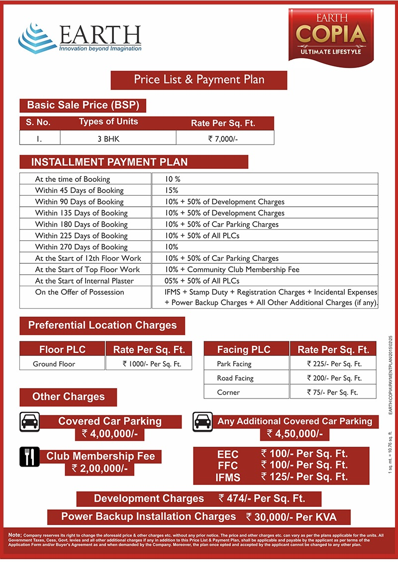 Payment Plan of Earth Copia Sector 112