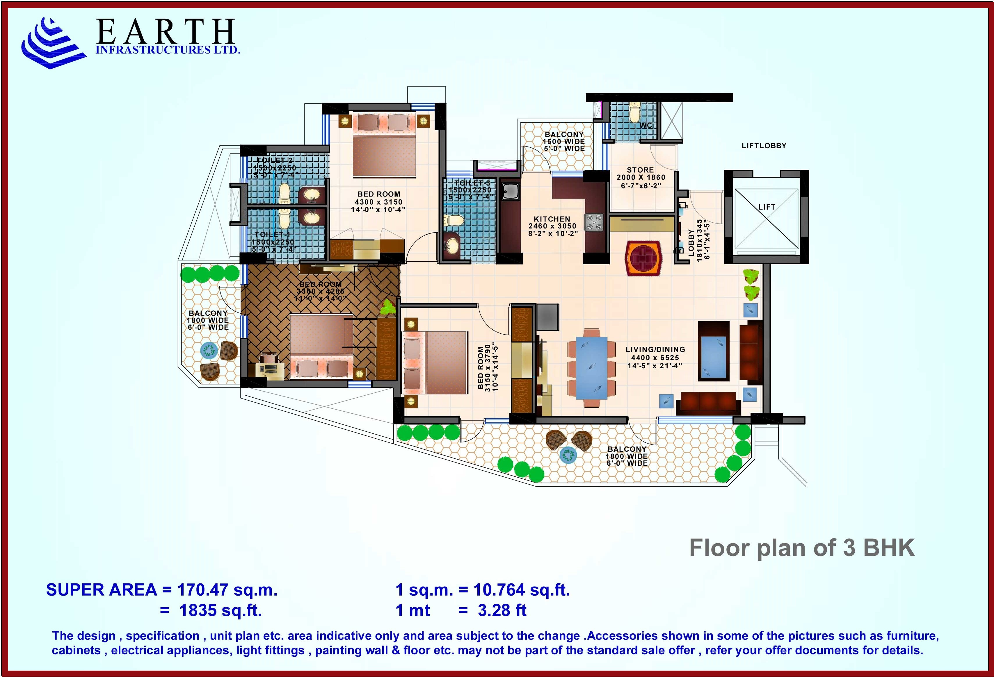 3 BHK Floor Plan of Earth Sector 112