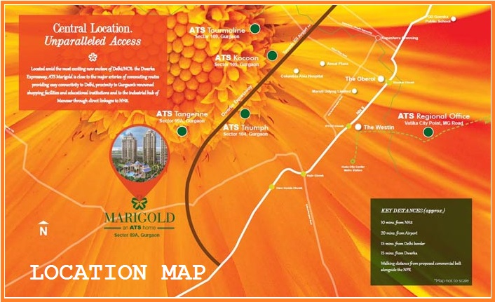 location map of ATS Marigold Sector 89A Gurgaon