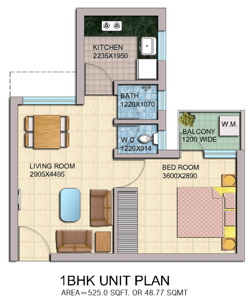 1bhk ROF Sector 37c Floor Plan