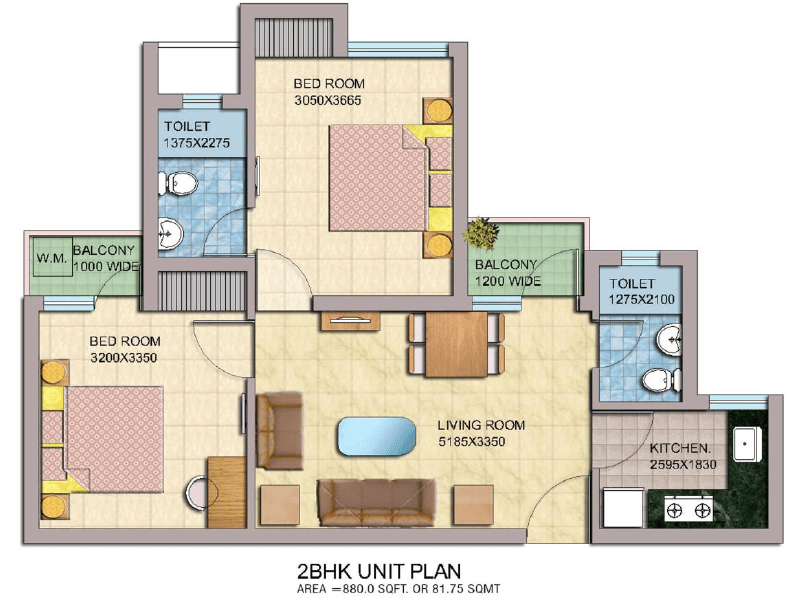 ROF Sector 37c Floor Plan 2bhk