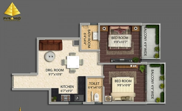 2 bhk Floor Plan Pyramid urban Homes 2