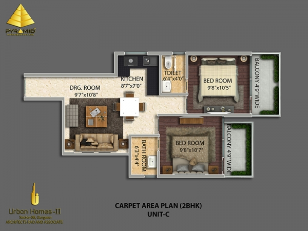 Pyramid affordable housing project 2 bhk unit-c