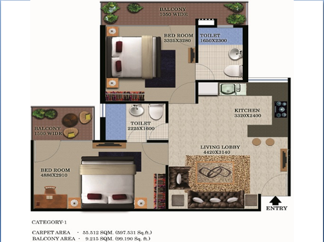 2bhk-597100-floor-plan-of-global-heights-sector-33-s0hna-affordable-housing
