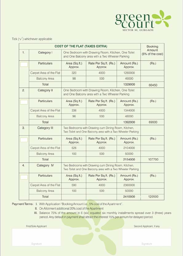 shree vardhman green court price list