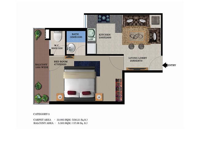 type-2-1bhk-35657-floor-plan-of-global-heights-sector-33-s0hna-affordable-housing