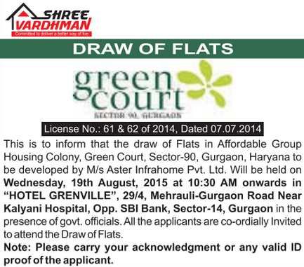 shree-vardhman-green-court-draw-result gurgaon