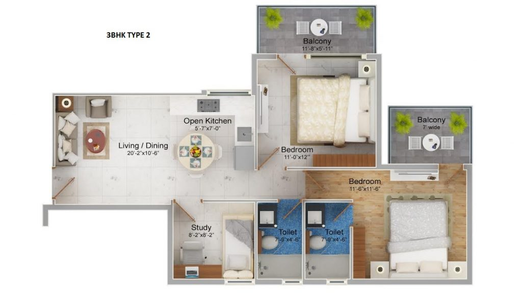 Affordable Housing Gurgaon Sector 109 Floor 3 bhk Type 2