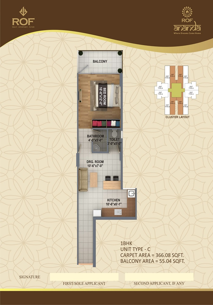 Rof Affordable Housing Gurgaon 1 bhk Unit-C