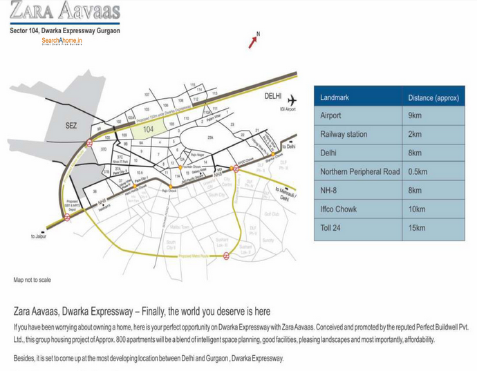 Location map of affordable housing project in sector 104 gurgaon