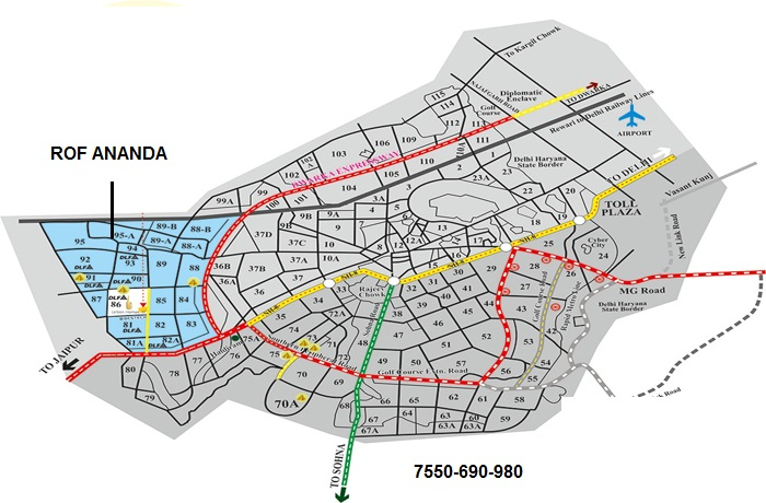 ROF ANANDA SECTOR 95 GURGAON LOCATION MAP