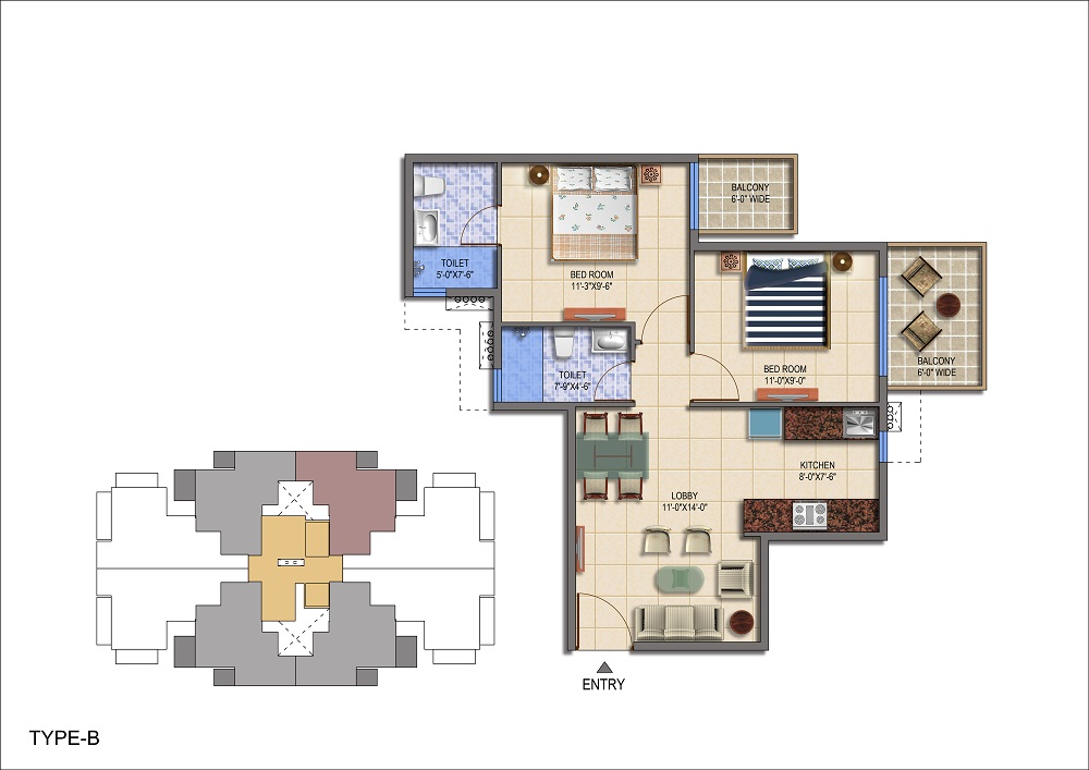 The Roselia Sector 95a Gurgaon floor plan 2bhk