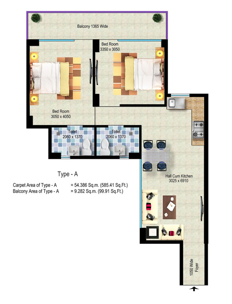 Global Hill View Sector 11 Sohna Floor Plan TYPE_Haryana Affordable Housing Project