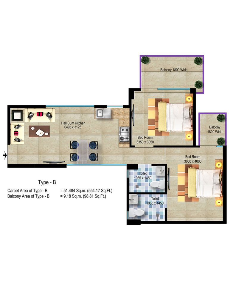 Global Hill View Sector 11 Sohna Floor Plan TYPE_B Haryana Affordable Housing Project