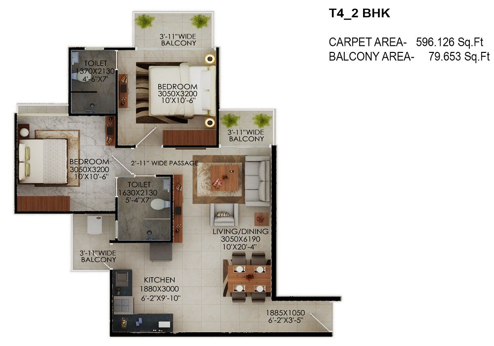 Signature global the millennia sector 37d gurgaon for Affordable housing floor plans