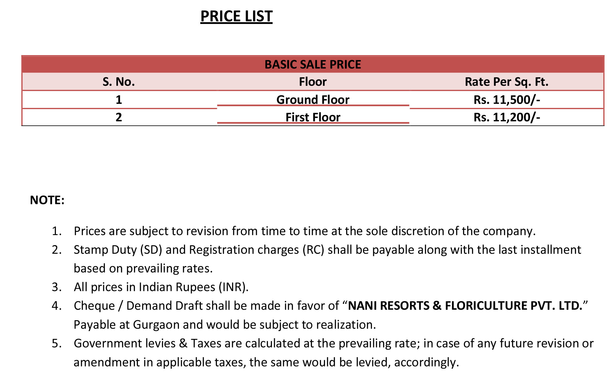 ROF GALLERIA SECTOR 102 PRICE LIST