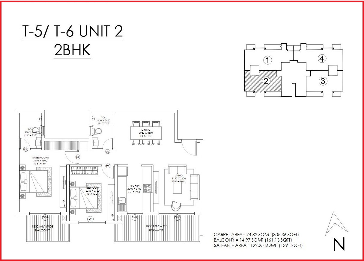 One Indiabulls 2 BHK floor plan