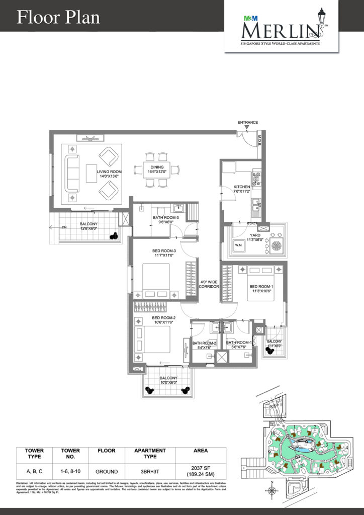 m3m merlin-3bhk-floor-plan-2037-sq