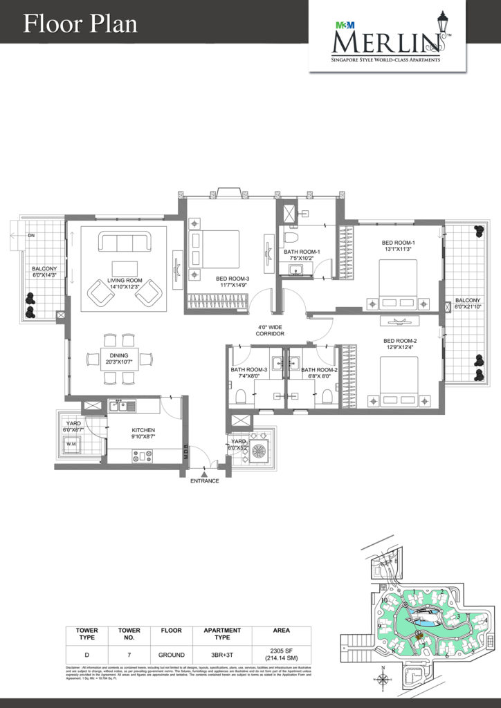 m3m merlin-3bhk-floor-plan-2305-sq